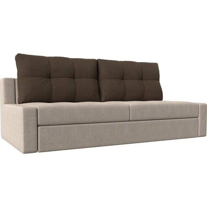 Прямой диван Лига Диванов Мартин рогожка бежевый подушки коричневый