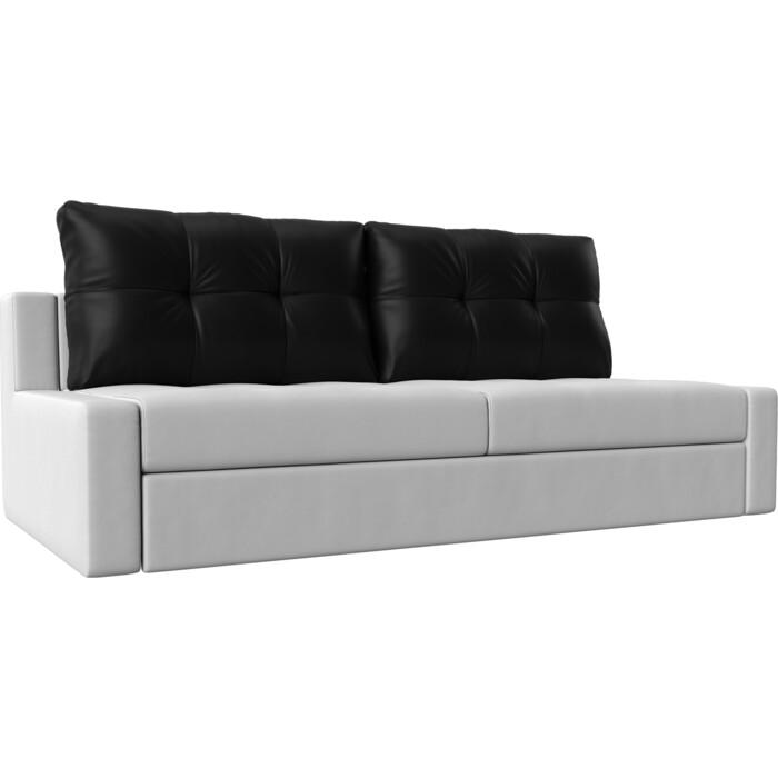 Прямой диван Лига Диванов Мартин экокожа белый подушки черный