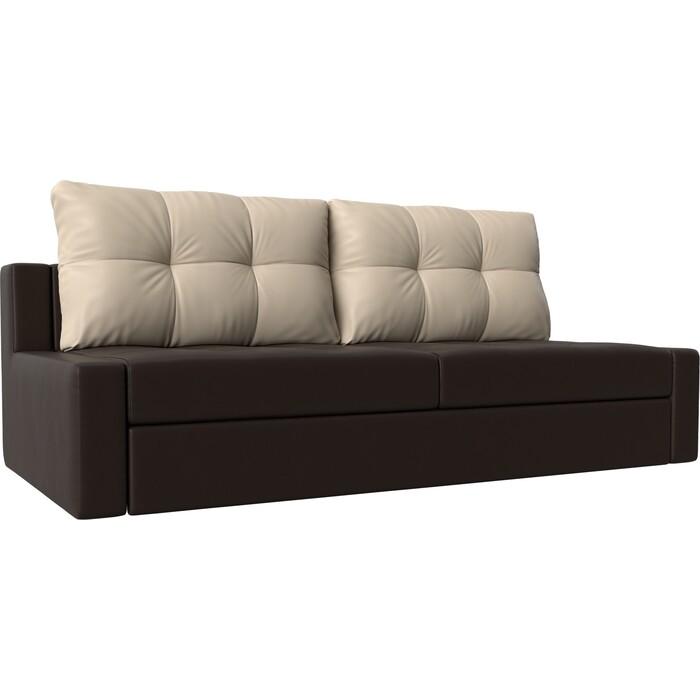 Прямой диван Лига Диванов Мартин экокожа коричневый подушки бежевый прямой диван лига диванов мартин микровельвет коричневый подушки бежевый