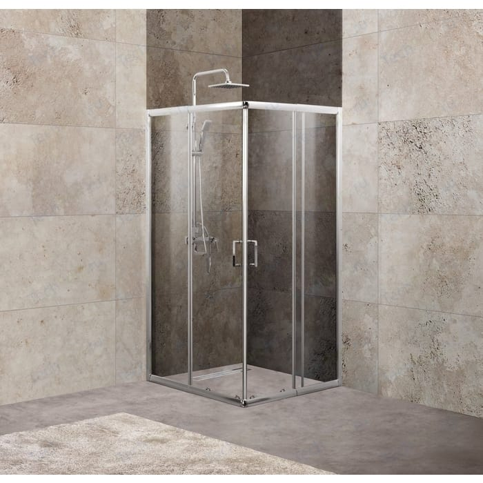 Душевой уголок BelBagno Unique 100x100 Punto, хром, (UNIQUE-A-2-85/100-P-Cr)