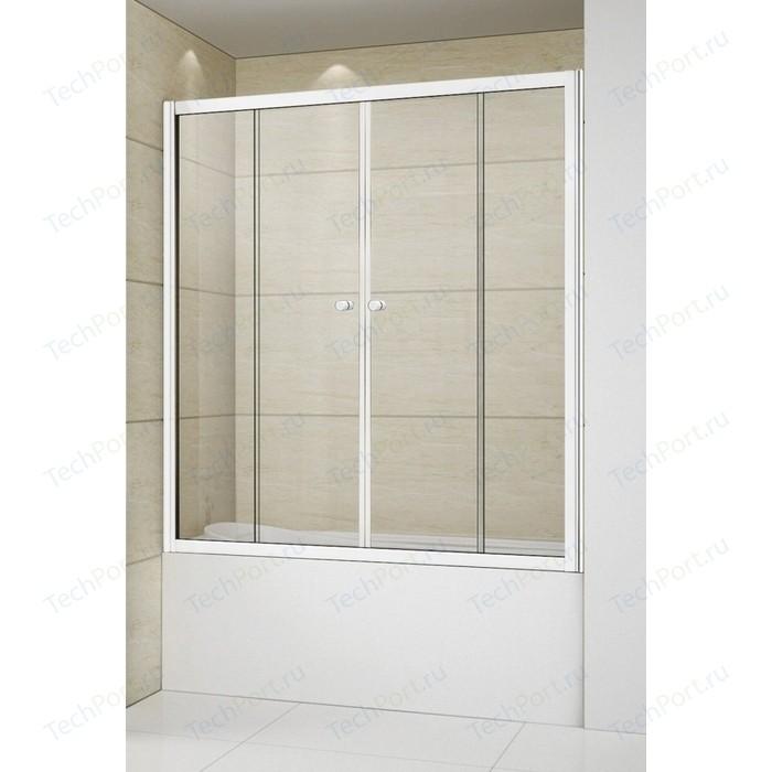 Шторка для ванной Cezares Relax 150x145 прозрачная, белая (RELAX-VF-2-150/145-C-Bi)