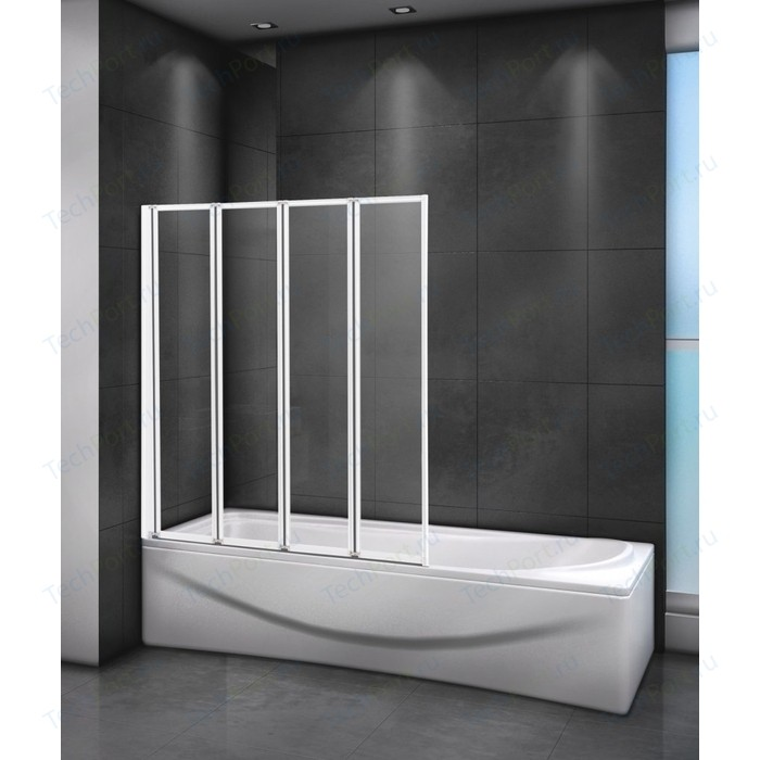 Шторка для ванны Cezares Relax V-4 90x140 левая, матовая Punto, белый (RELAX-V-4-90/140-P-Bi-L)