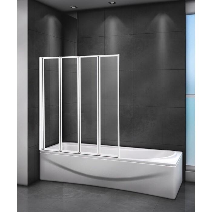 Шторка для ванной Cezares Relax 90x140 прозрачная, белая (RELAX-V-4-90/140-C-Bi)