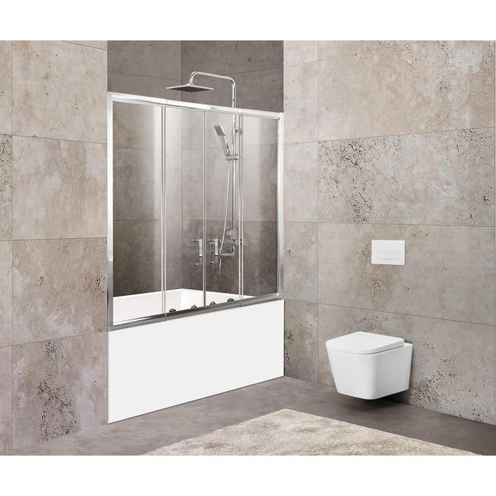 Шторка для ванной BelBagno Unique 180x140 прозрачная, хром (UNIQUE-VF-2-150/180-140-C-Cr)