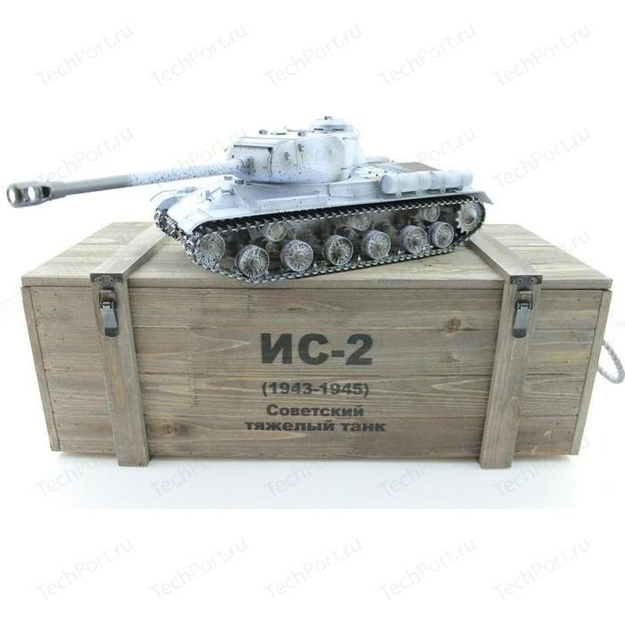 Радиоуправляемый танк Taigen ИС-2 модель 1944, СССР, зимний, (для ИК танкового боя), деревянная коробка RTR масштаб 1:16 2.4G - TG3928-1S-IR-BOX