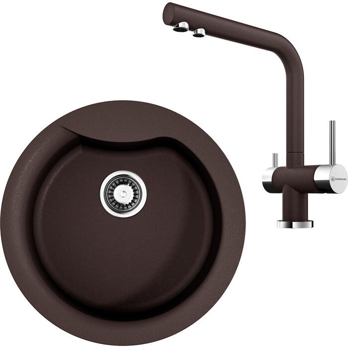 Кухонная мойка и смеситель Omoikiri Yasugata 48R-DC темный шоколад (4993211, 4994105)