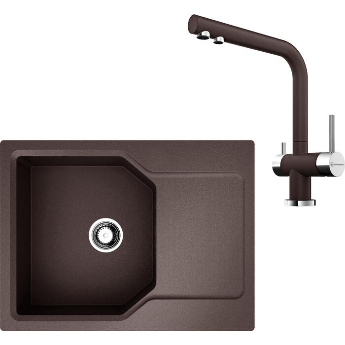 Кухонная мойка и смеситель Omoikiri Yonaka 65-DC темный шоколад (4993347, 4994105)