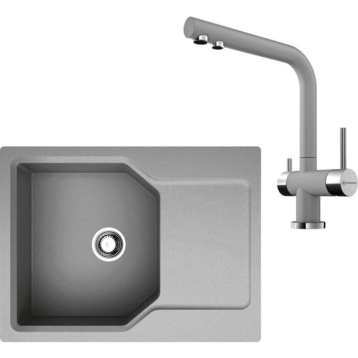 Кухонная мойка и смеситель Omoikiri Yonaka 65-GR ленинградский серый (4993346, 4994261)