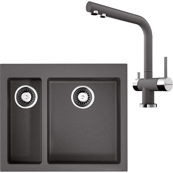 Кухонная мойка и смеситель Omoikiri Bosen 59-2-PL платина (4993224, 4994107)