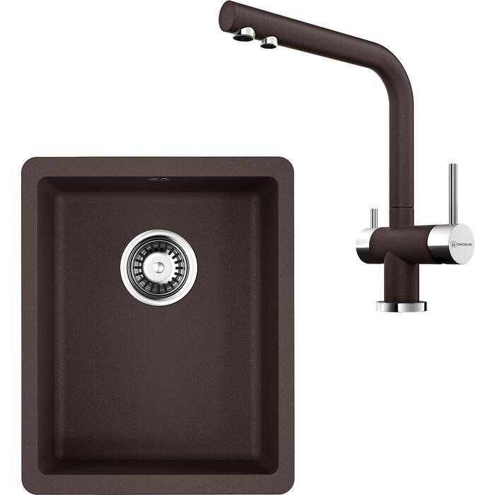 Кухонная мойка и смеситель Omoikiri Kata 34-U-DC темный шоколад (4993381, 4994105)