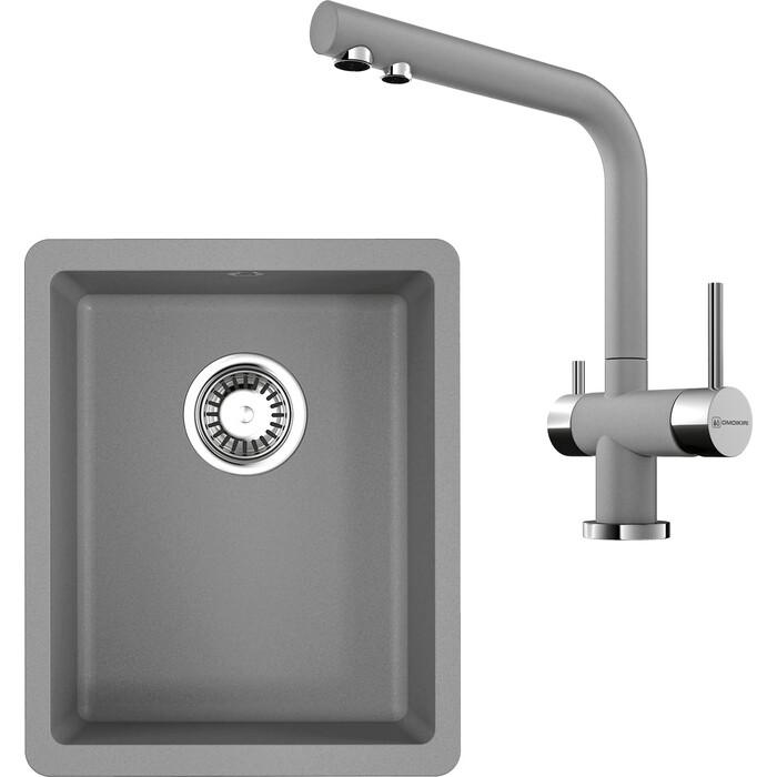Кухонная мойка и смеситель Omoikiri Kata 34-U-GR ленинградский серый (4993383, 4994261)