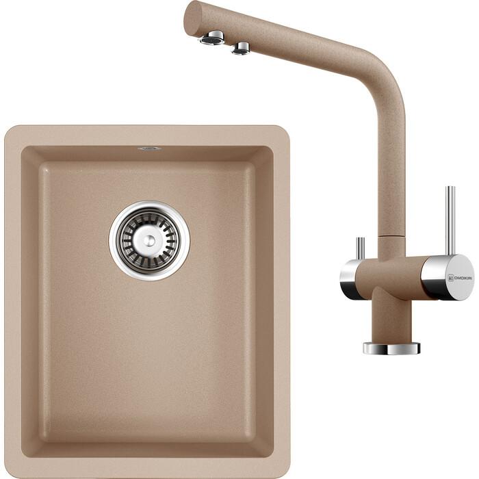 Кухонная мойка и смеситель Omoikiri Kata 34-U-SA бежевый (4993420, 4994055)