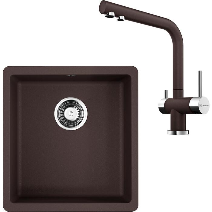 Кухонная мойка и смеситель Omoikiri Kata 40-U-DC 400x420 темный шоколад (4993395, 4994105)