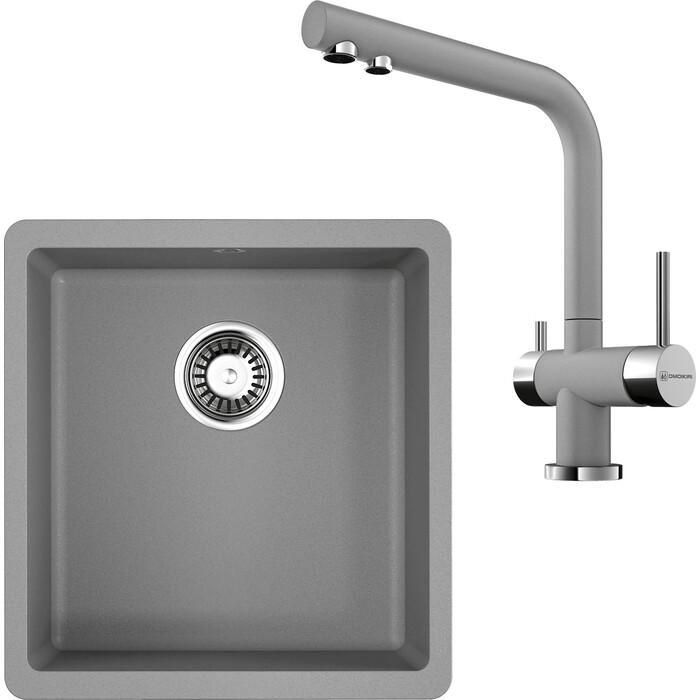 Кухонная мойка и смеситель Omoikiri Kata 40-U-GR 400x420 ленинградский серый (4993397, 4994261)