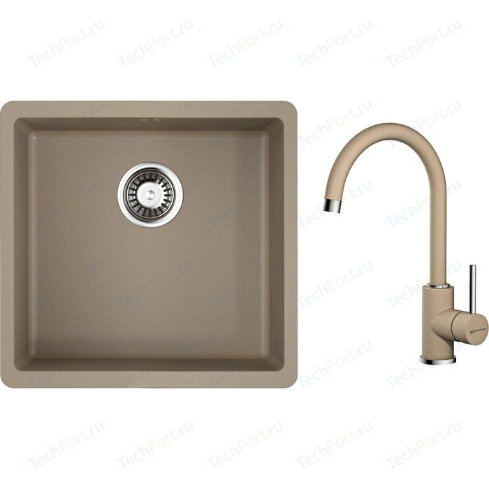 Кухонная мойка и смеситель Omoikiri Kata 44-U-CA 440x420 карамель (4993399, 4994158)