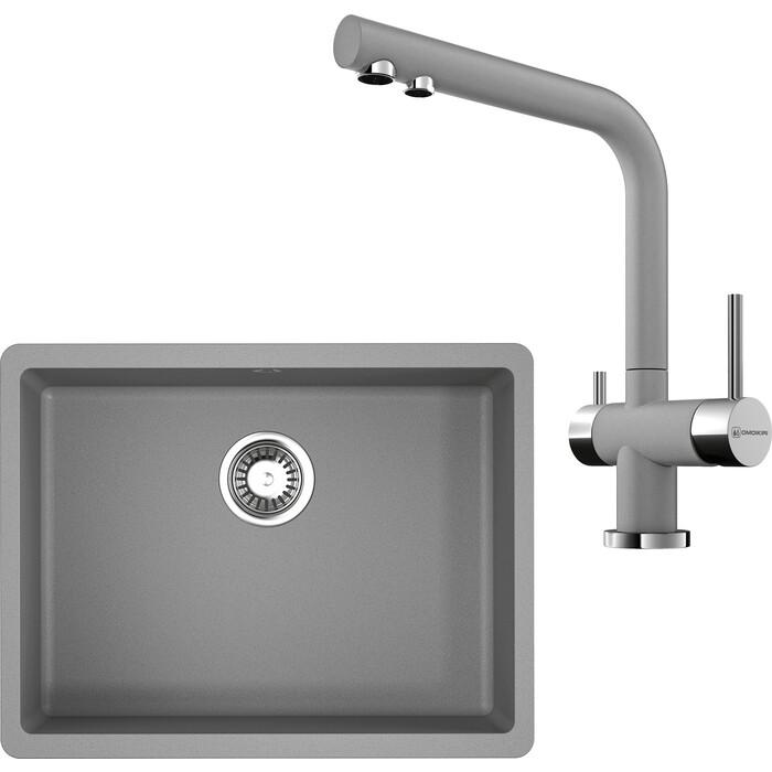 Кухонная мойка и смеситель Omoikiri Kata 54-U-GR ленинградский серый (4993411, 4994261)