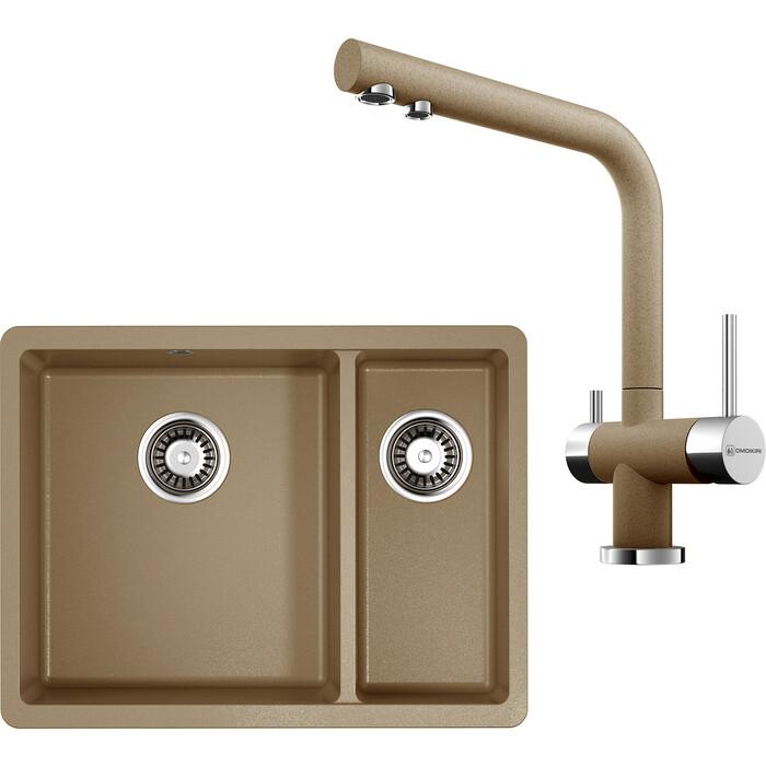 Кухонная мойка и смеситель Omoikiri Kata 55-2-U-CA карамель (4993385, 4994158)