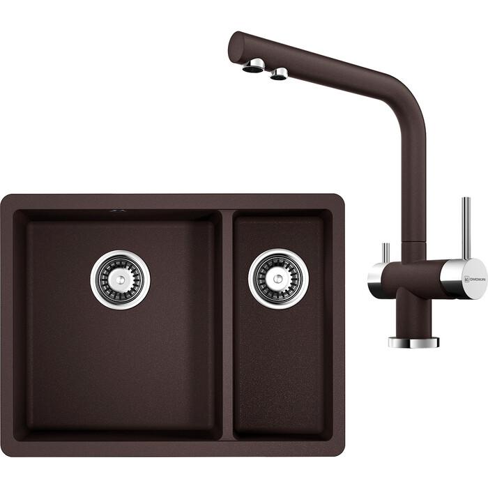 Кухонная мойка и смеситель Omoikiri Kata 55-2-U-DC темный шоколад (4993388, 4994105)