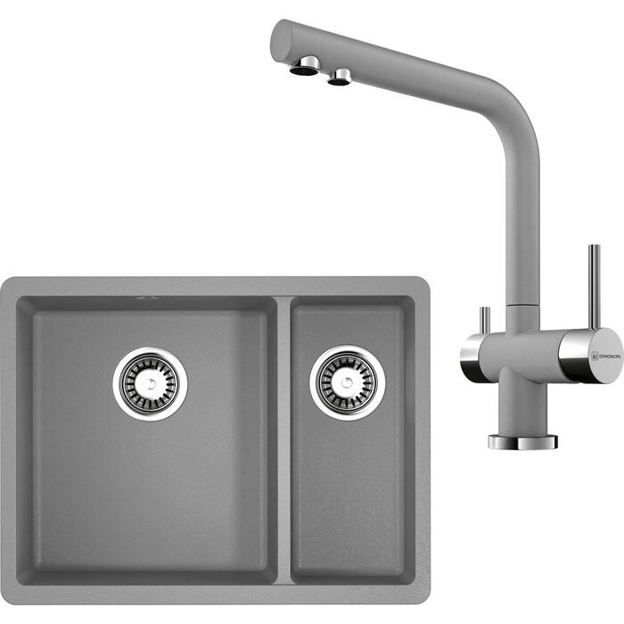 Кухонная мойка и смеситель Omoikiri Kata 55-2-U-GR ленинградский серый (4993390, 4994261)