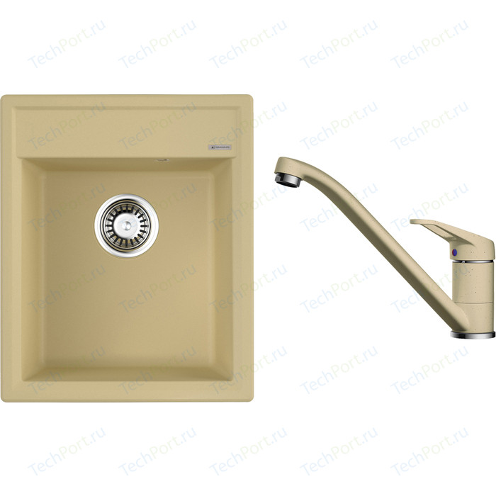 Кухонная мойка и смеситель Omoikiri Daisen 42-MA марципан (4993601, 4994171)