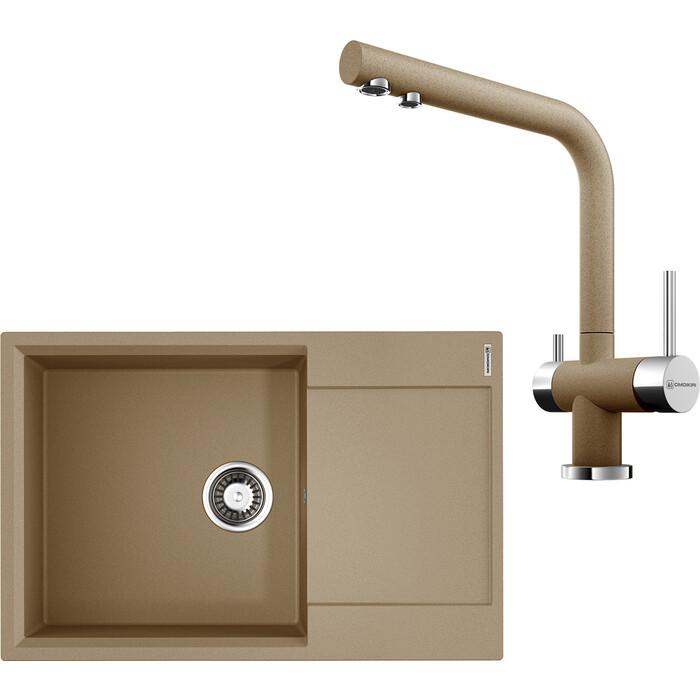 Кухонная мойка и смеситель Omoikiri Daisen 78-LB-CA карамель (4993689, 4994158)