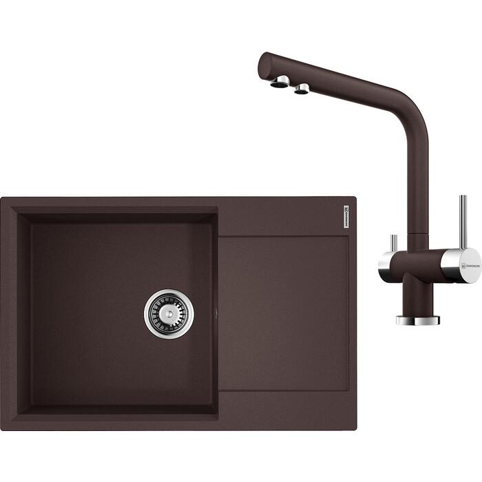 Кухонная мойка и смеситель Omoikiri Daisen 78-LB-DC темный шоколад (4993691, 4994105)