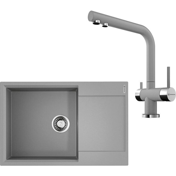 Кухонная мойка и смеситель Omoikiri Daisen 78-LB-GR ленинградский серый (4993690, 4994261)