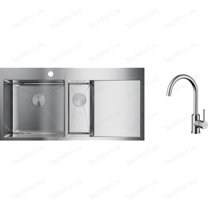 Кухонная мойка и смеситель Omoikiri Akisame 100-2-IN-L нержавеющая сталь (4973544, 4994230)