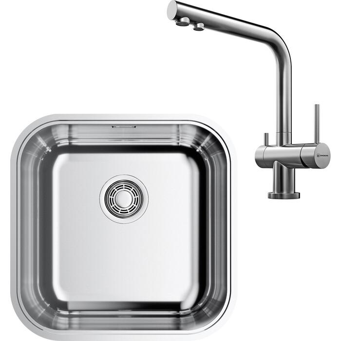 Кухонная мойка и смеситель Omoikiri Omi 44-U/IF-IN Quadro нержавеющая сталь (4993494, 4994230)