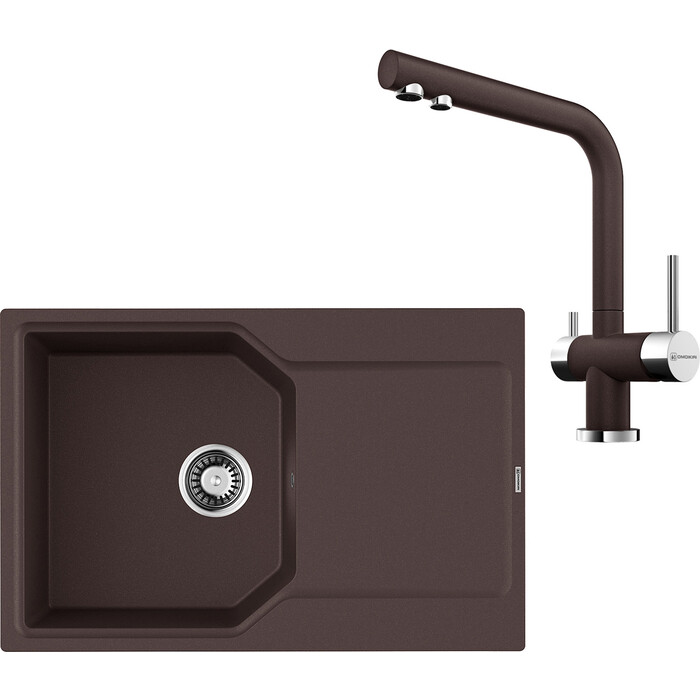Кухонная мойка и смеситель Omoikiri Yonaka 78-DC темный шоколад (4993707, 4994105)