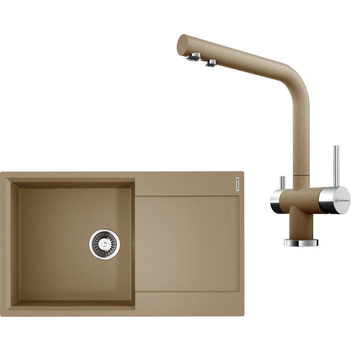 Кухонная мойка и смеситель Omoikiri Daisen 86-CA карамель (4993697, 4994158)