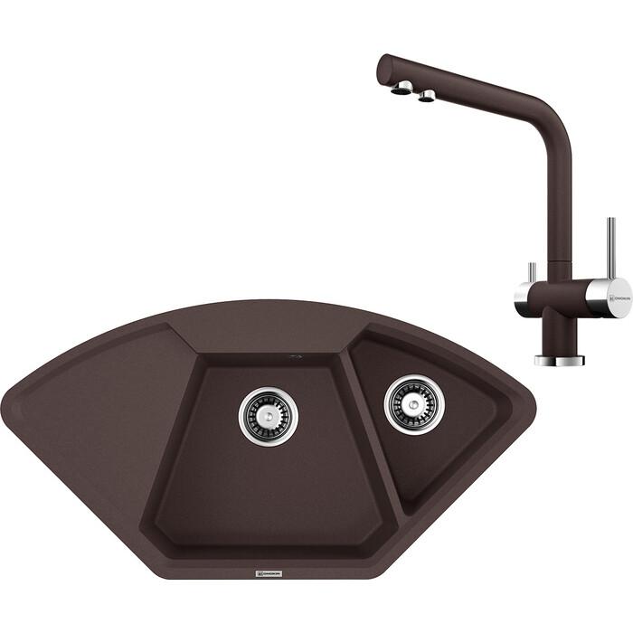 Кухонная мойка и смеситель Omoikiri Yonaka 98-C-DC темный шоколад (4993715, 4994105)