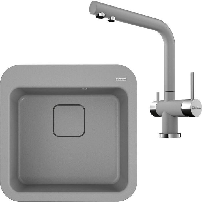 Кухонная мойка и смеситель Omoikiri Tasogare 51-GR leningrad grey (4993740, 4994261)