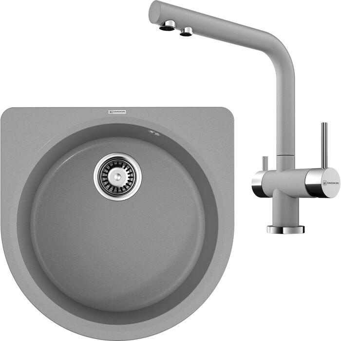 Кухонная мойка и смеситель Omoikiri Akegata 51-GR leningrad grey (4993756, 4994261)