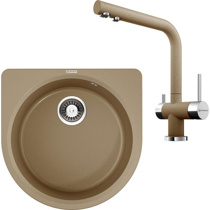 Кухонная мойка и смеситель Omoikiri Akegata-51-CA карамель (4993755, 4994158)