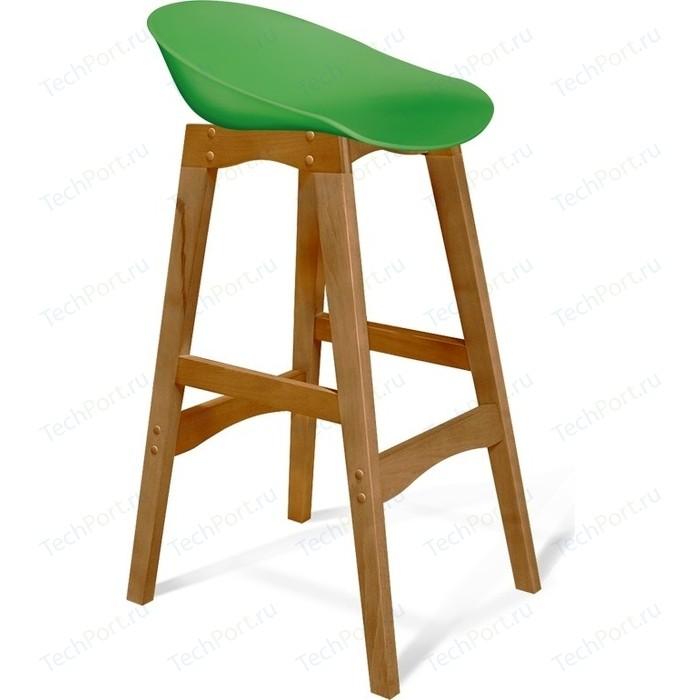 Барный стул Sheffilton SHT-ST19/S65 зеленый/светлый орех