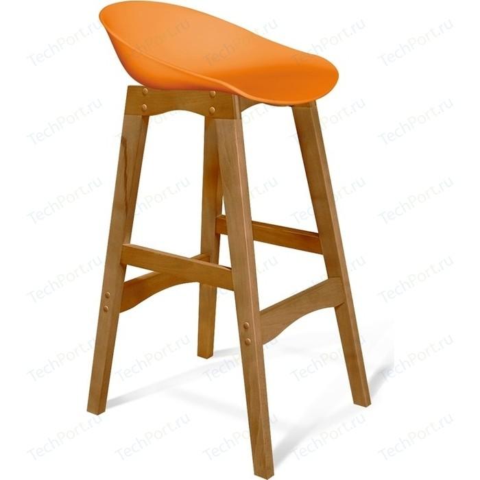 Барный стул Sheffilton SHT-ST19/S65 оранжевый/светлый орех