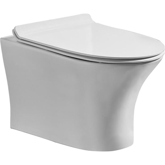 Унитаз подвесной Orange C01 безободковый, сиденье с микролифтом (C01-100W)