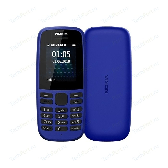 Мобильный телефон Nokia 105 2019 (TA-1203) blue сотовый телефон nokia 105 blue