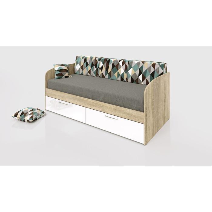 Кровать СКАНД-МЕБЕЛЬ КС-01 Стокгольм белый глянец с ящиками 200x90