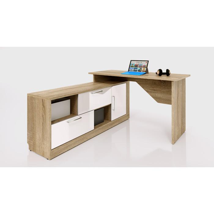 Стол угловой письменный СКАНД-МЕБЕЛЬ СС-03 левый Стокгольм белый глянец стол прямой сканд мебель сс 02 левый правый стокгольм белый глянец