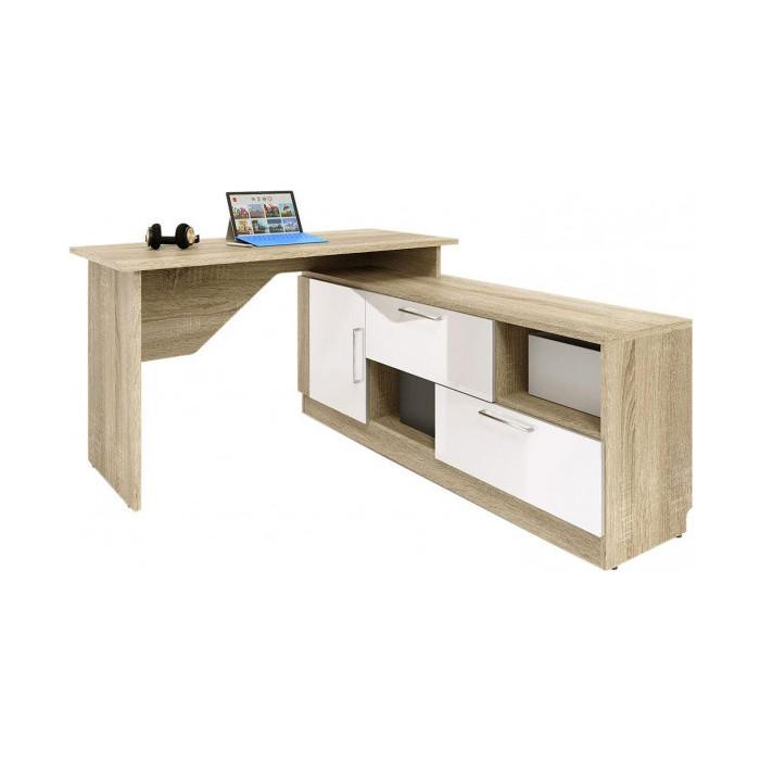 Стол угловой письменный СКАНД-МЕБЕЛЬ СС-03 правый Стокгольм белый глянец стол прямой сканд мебель сс 02 левый правый стокгольм белый глянец