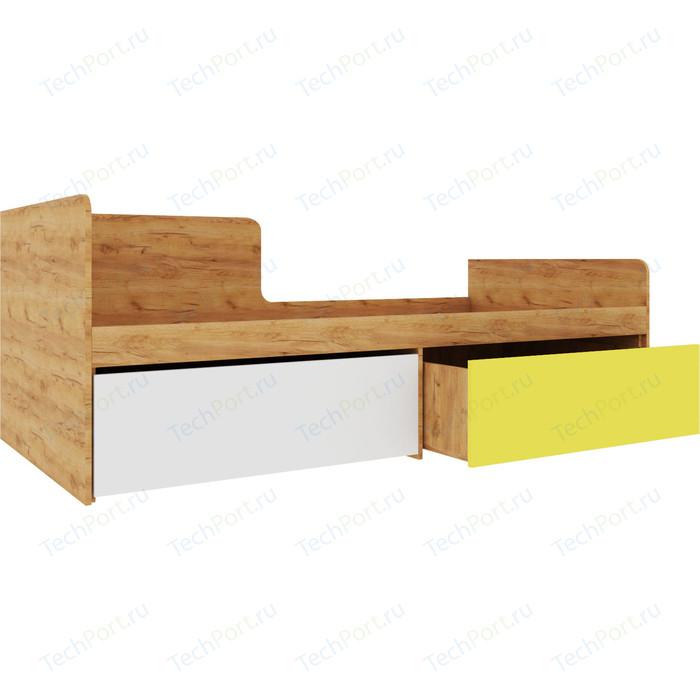 Кровать Атлант Дастин дуб крафт золотой, белая аляска, желтый шафрановый