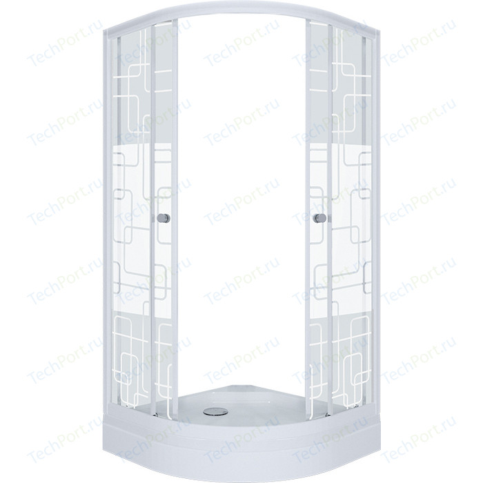 Душевой уголок Triton Стандарт А 100х100 профиль белый, стекла Аква квадраты (Щ0000025926)