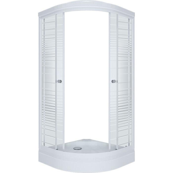 Душевой уголок Triton Стандарт А 100х100 профиль белый, стекла Аква полосы (Щ0000025929)