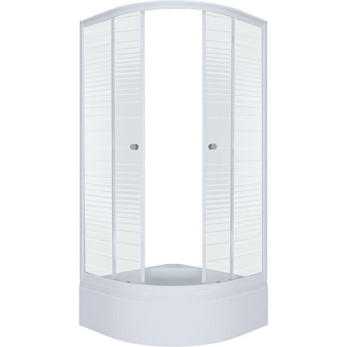 Душевой уголок Triton Стандарт В 100х100 профиль белый, стекла Аква полосы (Щ0000025931)