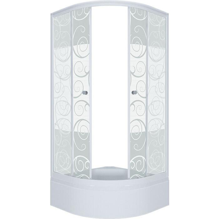 Душевой уголок Triton Стандарт В 100х100 профиль белый, стекла Аква узоры (Щ0000025933)