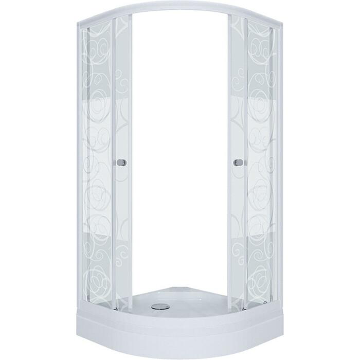 Душевой уголок Triton Стандарт А 90х90 профиль белый, стекла Аква узоры (Щ0000025433)