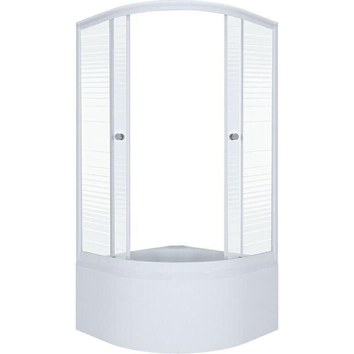 Душевой уголок Triton Стандарт В 90х90 профиль белый, стекла Аква полосы (Щ0000025438)