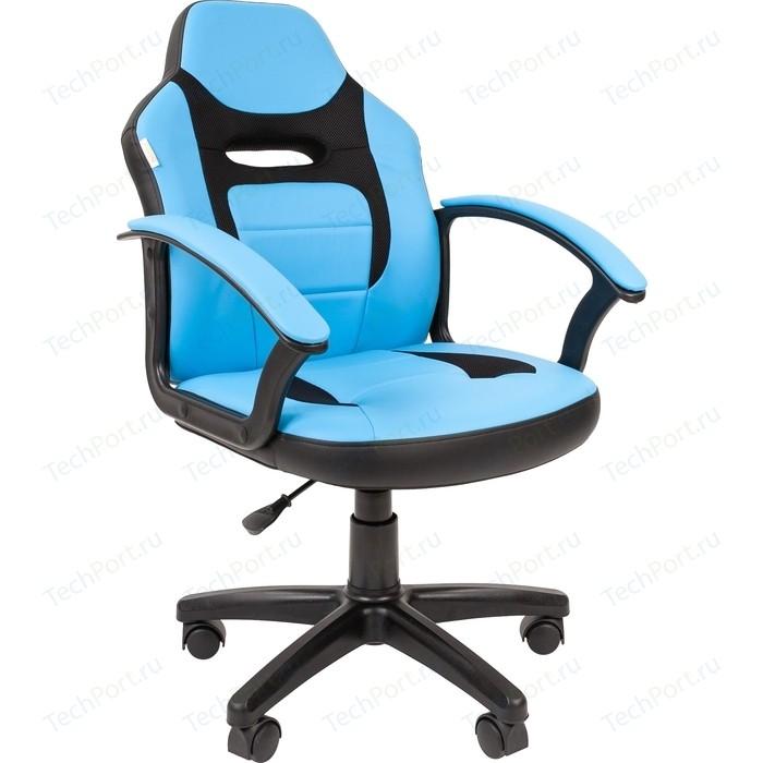 Кресло Chairman Kids 110 экопремиум черный/голубой